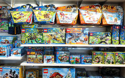 Lego construction toys. Variety of Lego construction toys on shelves in a store Stock Photo