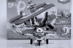 Lego Creator plane, box unpacking stock photography