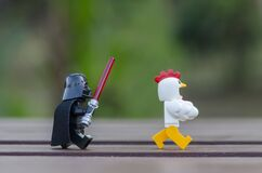 lego darth vader chasing chicken suit guy for dinner