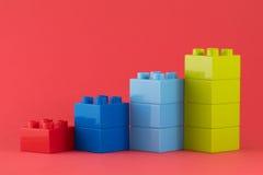 Lego diagram på röd bakgrund Fotografering för Bildbyråer