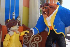Lego figures of Beauty and the Beast. The Lego Store at Disney Downtown, Anaheim, California has larger-than-life lego brick art of Belle and the Beast with Stock Image