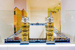 Lego figurines and forms in Copenhagen Lego store showing Tower Bridge in London Royalty Free Stock Photos
