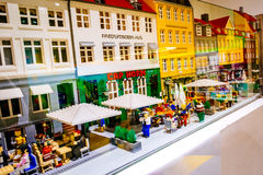 Lego figurines and forms the Lego store showing Nyhavn neighborhood in Copenhagen, Denmark Stock Images