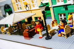 Lego figurines and forms the Lego store showing Nyhavn neighborhood in Copenhagen, Denmark Royalty Free Stock Images