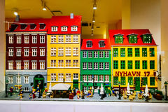 Lego figurines and forms the Lego store showing Nyhavn neighborhoodin in Copenhagen, Denmar Royalty Free Stock Photography