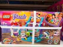 Lego friends game set for sale in the Auchan shopping center on December 25, 2019 in Russia, Kazan, Hussein Yamashev Avenue 46