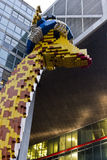 Lego giraffe in front of the Lego Discovery Centre Stock Photo