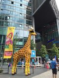 Lego giraffe at the Sony Center, Berlin. Lego giraffe in front of the Sony Center in Postdamerplatz, Berlin, Germany Royalty Free Stock Photos