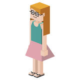 Lego girl with t-shirt unsleeves and skirt and glasses Stock Images