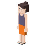 Lego girl with t-shirt unsleeves and skirt Stock Photography