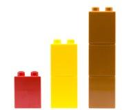 Lego graf av legotegelstenar som isoleras på en vit bakgrund Fotografering för Bildbyråer