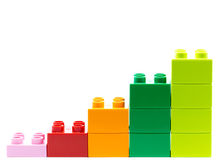 Lego graph of lego bricks isolated on a white background.