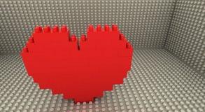 Lego heart. Heart simbol made of toy blocks-3d render Stock Photo