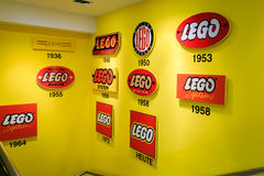 Lego history. Overview of Lego logos throughout the years Royalty Free Stock Photo