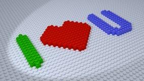 Lego - jag älskar dig tegelstenar som komponeras på det vita golvet Fotografering för Bildbyråer