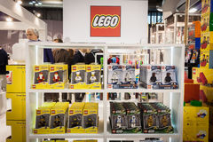 Lego key rings on display at HOMI, home international show in Milan, Italy Stock Photos