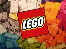 Lego logo. Colorful illustrative picture of the Lego logo stock image