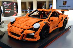 The Lego-made Porsche GT 3RS is on Dubai Motor Show 2017 Royalty Free Stock Images