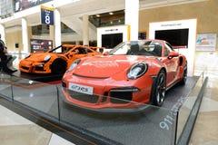 The Lego-made Porsche GT 3RS and Porsche 911 GT 3RS sportscar. DUBAI, UAE - NOVEMBER 18: The Lego-made Porsche GT 3RS and Porsche 911 GT 3RS sportscar is on Stock Photos