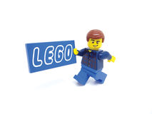 Lego man with billboard Royalty Free Stock Photo