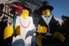 Lego Masked couple. In venice during carnival Royalty Free Stock Photos