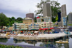 Lego mini beach. Legoland Florida - mini beach and building stock image