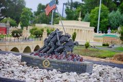 Lego mini castle. Legoland Florida - mini statue and flag stock photo