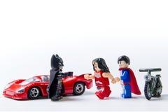 LEGO minifigure Batman VS Superman and stormtrooper. Royalty Free Stock Photos