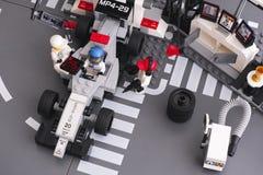 Lego MP4-29 race car in McLaren Mercedes Pit Stop Stock Photos