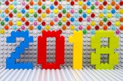 Lego New årsbegrepp 2018 Arkivfoto