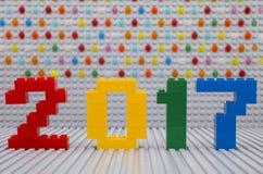 Lego New-Jahrkonzept 2017 Lizenzfreie Stockfotografie