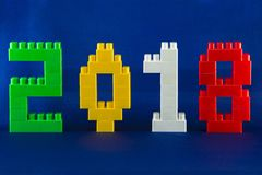 Lego New Year 2018 Concept With Lego Cubes On Blue Background. Royalty Free Stock Photography