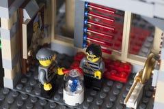 LEGO night museum break-in Royalty Free Stock Photo