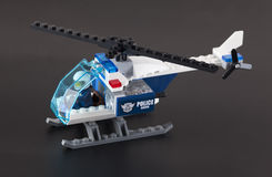 Lego Police-Hubschrauber mit Piloten Stockfotografie
