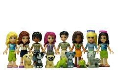 Lego przyjaciele z ich zwierzętami zdjęcie stock