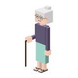 Lego silhouette elderly woman with walking stick Royalty Free Stock Photos