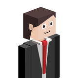 lego silhouette half body man with formal suit Royalty Free Stock Image