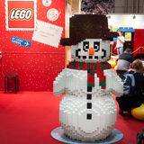 Lego snowman at G! come giocare in Milan, Italy Stock Images