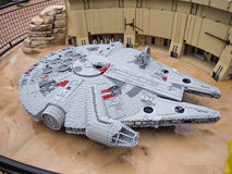 Lego Spaceship. Space ship from Star wars made from plastic lego block in Lego miniland Royalty Free Stock Photo
