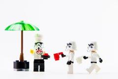 Lego Star Wars filmu Stomtrooper mini postacie Fotografia Stock