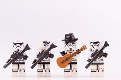 Lego star wars guitarist. Nonthabure, Thailand - June, 23, 2016: Lego star wars guitarist .The lego Star Wars mini figures from movie series.Lego is an royalty free stock image