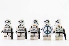 The lego Star Wars movie Stomtrooper mini figures. Nonthaburi, Thailand - December 31, 2015: The lego Star Wars mini figures from movie series on isolated white Stock Photography