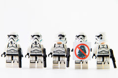 The lego Star Wars movie Stomtrooper mini figures. Royalty Free Stock Photos