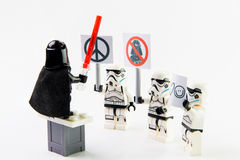 The lego Star Wars movie Stomtrooper mini figures. Royalty Free Stock Photo