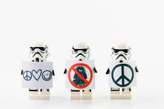 The lego Star Wars movie Stomtrooper mini figures.