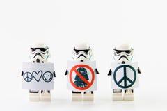 The lego Star Wars movie Stomtrooper mini figures. Stock Photos