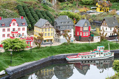 Lego stary Niemiecki Grodzki miasteczko z statkiem Zdjęcie Stock