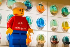 Lego Store background. Bologna, Italy, 16 Feb 2019 - Lego store minifigure and various Lego bricks self service containers royalty free stock photo