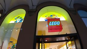 Lego Store logo. Bologna, Italy- December 6, 2018: Logo of Lego shop of Bologna. LEGO is a line of plastic construction toys that are manufactured by The Lego stock video footage