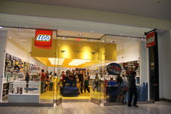 Lego Store. Lego Sign on the side of Lego Store shop in Washington. Lego is a popular line of construction toys manufactured by The Lego Group Stock Photo